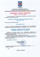 Agrement tehnic feroviar seria AT nr. 814 / 2016