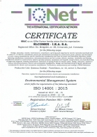 Certificat RO0495 – ISO 14001 : 2015 – Environmental Management System